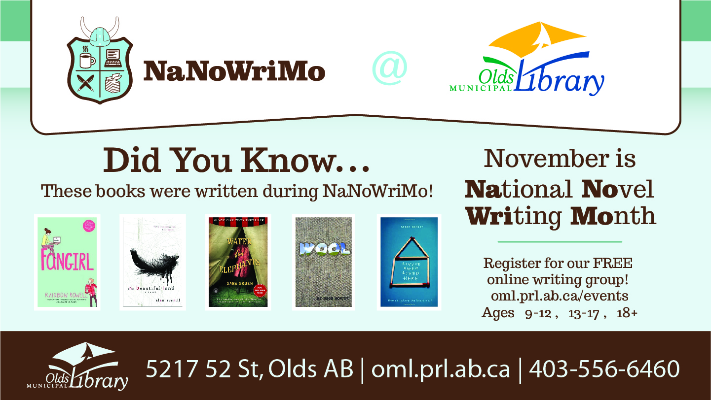 National Novel Writing Month at Olds Municipal Library